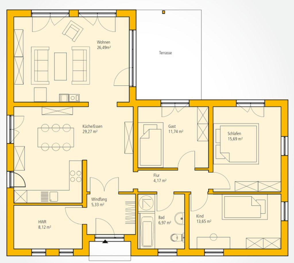 Bungalow Bauen: Moderner Winkelbungalow Mit Geschützter
